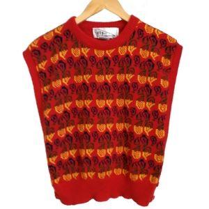 Vintage Multicolored Knit Sweater Vest, size M